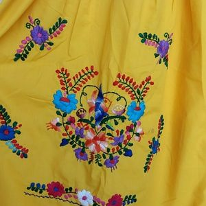 578747a1c39 Made in Mexico Dresses -  Vintage  Mexican embroidered yellow red dress 90s
